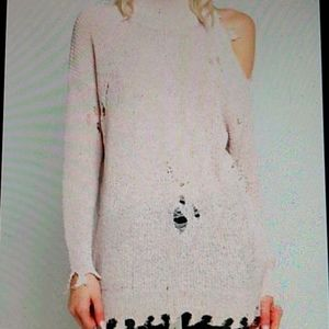 💗POL Pink Distressed Cutout Sweater
